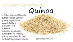 The Health Benefits of Quinoa   Eating Healthy & Living Fit - EatHealthyLiveFit.com