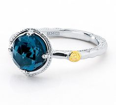 I heart this ring from TACORI! Style no: SR13533 Like the heart of the deep ocean, this mystical navy blue beauty is mesmerizing. The London Blue Topaz stone is encased within silver prongs and placed on a beautiful crescent .925 silver band, to create a true masterpiece. Wear this ring as part of a stackable set or on its own with any outfit to create a timeless sophisticated look.