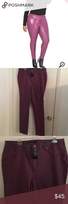 """Ashley Stewart skinny Ashley Stewart skinny jeans these are thicker than leggings the color say Boysenberry and they feel very smooth!! New not used!! Inseam 33"""" Ashley Stewart Pants Skinny"""
