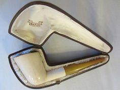 Real Block Meerschaum Composition Smoking Pipe Bakelite Stem Leather Case