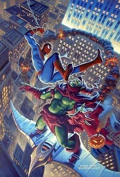 #Spiderman #Fan #Art. (Spiderman versus the Green goblin. Painted in 2001 for a Dynamic Forces lithograph. Signed By: ) Greg Hildebrandt and Tim Hildebrandt. (THE * 5 * STAR * AWARD * OF * ÅWESOMENESS!!!™)