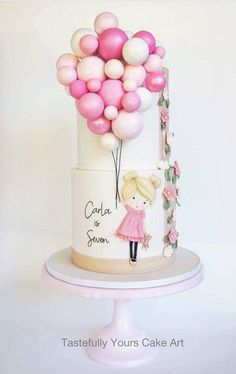 Girls Birthday Cake with Balloons - Bespoke original design by Tastefully Yours Cake Art Pretty Cakes, Cute Cakes, Beautiful Cakes, Amazing Cakes, Girly Cakes, Fondant Cakes, Cupcake Cakes, 3d Cakes, Baking Cupcakes