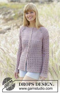 """Sweet Indigo Cardigan - Gehaakt DROPS vest met raglan en kantpatroon, wordt van boven naar beneden gehaakt van """"Cotton Viscose"""". Maat: S - XXXL. - Free pattern by DROPS Design"""