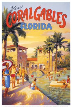 Visit Coral Gables, Florida Posters by Kerne Erickson at AllPosters.com