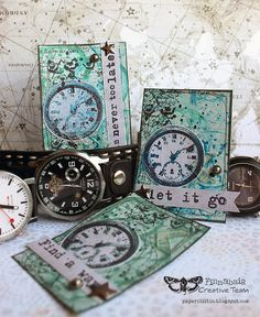 TIME ATCs by Riikka Kovasin for Finnabair Creative Team