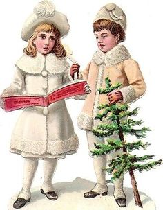 Glanzbilder - Victorian Die Cut - Victorian Scrap - Tube Victorienne - Glansbilleder - Plaatjes : Winterkinder - winter children - enfants d'hiver