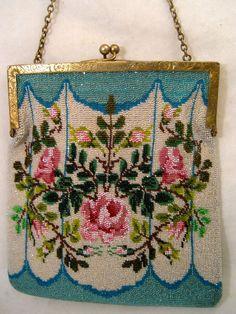 Vintage Beaded Purse Sterling Silver Frame Signed Handbag or Bag - For sale on Ruby Lane #RubyLane #VintageFashion