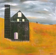 """""""Engine House, Cornwall,"""" acrylic on wood panel."""