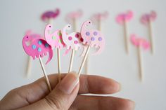 24 Pink Girl Dinosaur Party Picks Cupcake Toppers by takiecrafts, $5.40