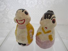Vintage~Chalk ware Bug Couple Man Lady~Salt n Pepper Shakers~Hand Painted..These are types of items, made of a type of chalk are hard to find intact.