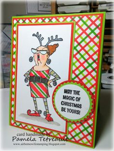 airbornewife's stamping spot: 2 more funny lady REINDEER GAMES & UGLY SWEATER DRESS cards