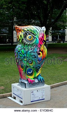Birmingham, West Midlands, UK. 27th July, 2015. One of 89 giant owl sculptures forms part of The Big Hoot art event. - Stock Photo