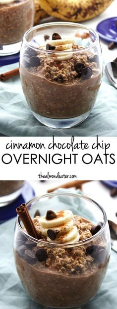 Chocolate Chip Overnight Oats A SWEET breakfast that's also healthy! Cinnamon, chocolate and banana in one filling overnight oats breakfastA SWEET breakfast that's also healthy! Cinnamon, chocolate and banana in one filling overnight oats breakfast Chocolate Overnight Oats, Overnight Oatmeal, Healthy Overnight Oats, Sweet Breakfast, Overnight Breakfast, Breakfast Ideas, Breakfast Toast, Breakfast Dessert, Oatmeal Recipes