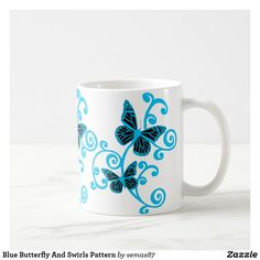 Blue Butterfly And Swirls Pattern Coffee Mug Craft Projects For Adults, Projects To Try, Craft Ideas, Plastic Pumpkins, White Spray Paint, Pumpkin Colors, Unique Coffee Mugs, Swirl Pattern