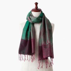 """The silk stole from Cambodia named """"Wine Green""""."""