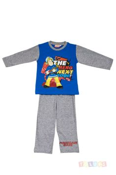 Pyjama Garçon Sam le Pompier Gris-bleu | https://twitter.com/Tolukicom #enfant #pyjama #Disney