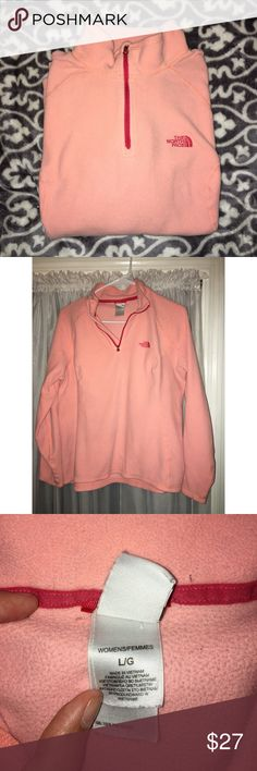 The North Face fleece pullover Peach/pink fleece pullover. Just ordered from here but it's too small on me. I'm 6'1 and the sleeves and torso were a bit too short on me. Very soft and great condition! The North Face Jackets & Coats