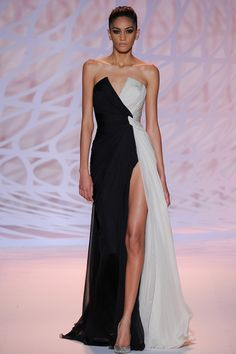 Zuhair Murad A/W 2014-15 Couture black and white dress runway