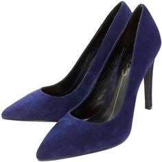 Lola Cruz Pointed Suede Court Shoes - Azul Tinta ($62) ❤ liked on Polyvore featuring shoes, pumps, suede leather shoes, long shoes, pointed shoes, suede pointy pumps and lola cruz