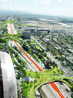 Paris-based Odile Decq and Bonit Conrnette Architects have proposed a plan to make Los Angeles a little greener by reinterpreting how we view of streets, overpasses, culverts, right of ways, power lines, and underutilized rail lines.