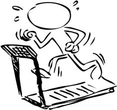 a stick figure jogging on the treadmill