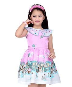 Pink Cityscape A-Line Dress - Toddler & Girls