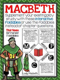 Macbeth: Reading and Writing Interactive Notebook Foldable English Language, Language Arts, Ap English, English Lessons, Interactive Writing Notebook, Interactive Notebooks, High School Classroom, English Classroom, Classroom Ideas