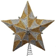Kurt Adler 135inch Gold and Silver Beading Star Treetop ** This is an Amazon Affiliate link. You can get more details by clicking on the image.