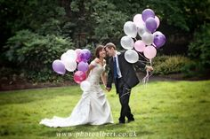 #wedding photo shoot of #bride and #groom with #balloons at #Ealing park taken after ceremony in #register_office in Ealing #London. Photographed by #wedding_photographer in London #Surreyand #Berkshire - #PhotoAlbert  #Wedding_dress by The Bridal Gallery in South Ealing