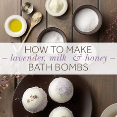 Using all-natural ingredients, turn your bath into a soothing oasis with Signature Hardware's Lavender, Milk & Honey bath bombs, inspired by two official symbols that represent Signature Hardware's home state of Kentucky: milk and honey bees. Homemade Bath Bombs, Homemade Soap Recipes, Bath Boms Diy, Lush Bath Bombs, Natural Bath Bombs, Bath Bomb Recipes, Lip Scrubs, Sugar Scrubs, Honey Recipes