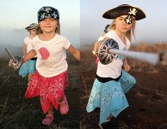 Talk Like A Pirate Day Crafts from Alphamom. Instructions on how to sew a bandana skirt and make a newspaper sword