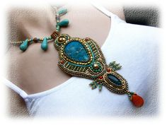 Bead Embroidery - Bead Embroidered Necklace - OOAK - Turquoise, blue, orange, gold - Egypt.