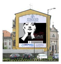 """Affissione grande formato per la mostra della """"Callas"""" a Palazzo Te di Mantova."""