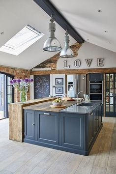 Combine rustic wood with modern textures for the perfect industrial kitchen from. - Combine rustic wood with modern textures for the perfect industrial kitchen from The Main Company. Large Open Plan Kitchens, Open Plan Kitchen Diner, Kitchen Diner Extension, Barn Kitchen, Open Plan Kitchen Living Room, Diy Kitchen Island, Home Decor Kitchen, New Kitchen, Home Kitchens