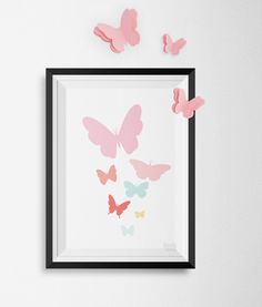 Vlinderposterinclusief 3D vlinder decoratie (roze) A2: 420×594 mm Kleur; Butterfly Blush