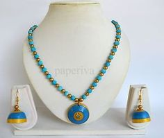 Classic Blue Paper Quilling Necklace & Jhumkas Earrings