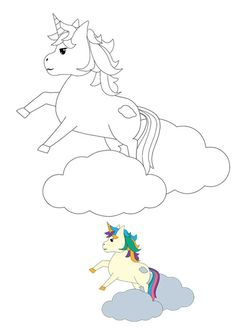 Unicorn jumping cloud coloring page with sample Emoji Coloring Pages, Birthday Coloring Pages, Mermaid Coloring Pages, Cool Coloring Pages, Mandala Coloring Pages, Free Printable Coloring Sheets, Coloring Sheets For Kids, My Little Pony Unicorn, Unicorn Cat