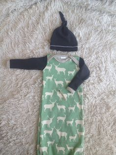 Organic newborn boy coming home outfit Deer print and by Londinlux