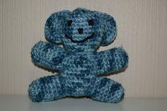 Crochet camouflage blue bear / Heklet kamuflasje bamse i blått