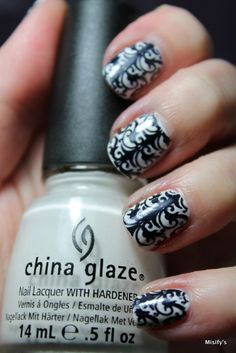 Misify's / China Glaze - White Out / Konad - Black / Cheeky - European Romance