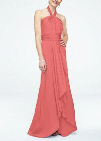 This beautiful, soft and flowy silhouette is effortlessy chic for your bridal party! Sleeveless matte charmeuse bodice with y-halter neckline and figure flattering ruched waistband. Long, soft front cascade with slit for added movement. Fully lined. Back zip. Imported polyester. Dry clean only. To protect your dress, try our Non Woven Garment Bag. Lightweight shimmery satin with a soft, contouring drape.A neckline featuring straps that wrap around from the front and connect at the back.Tight decorative gathers which create flattering pleats in the fabric.
