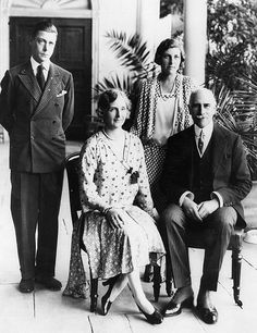 Edward Prince of Wales with his aunt Princess Alice, Countess of Athlone , her husband Alexander, Earl of Athlone and their daughter Lady May Cambridge. Photo taken as Edward arrived in Cape Town, South Africa on a tour 2nd February 1930