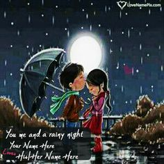 Print love couple name on beautiful Romantic Couple In Rain image and surprise your lover , wife , husband , girlfriend or boyfriend by sending these sweet love images.It is the sweet way to express your feelings and love to your love one