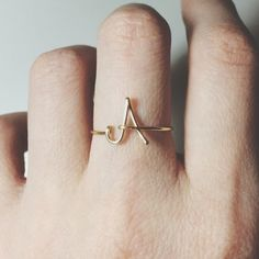 Initial letter ring/single letter ring/gold by BeadsLearnToRock