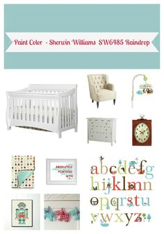 Aqua and Red Gender Neutral Nursery