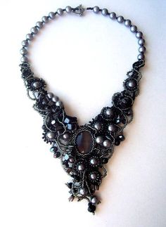 Black beaded freeform necklace Beaded by ibis on Etsy