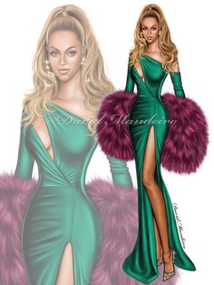 Beyoncé wearing Walter Collection at #TidalxBrooklyn charity concert in #NewYork #digitaldrawing by David Mandeiro Illustrations #digitalart #Beyonce #Bey #Wacom #digitalpainting #fashion