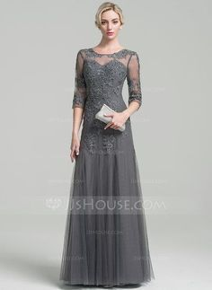 A-Line/Princess Scoop Neck Floor-Length Beading Sequins Zipper Up Sleeves 3/4 Sleeves No Steel Grey General Plus Tulle Height:5.7ft Bust:33in Waist:24in Hips:34in US 2 / UK 6 / EU 32 Mother of the Bride Dress