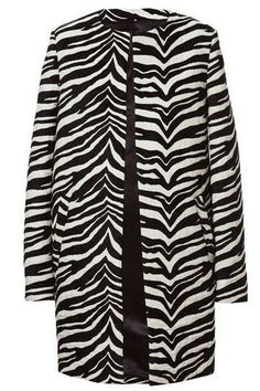 Zebra Pattern Print Jacquard Car Coat Oversized Longline Jacket Collarless | Goodnight Macaroon