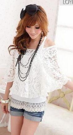 Blusas de encaje blancas 3